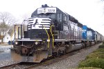 NS 3388 & 3371 sit with a train on the mainline at Delmar,De